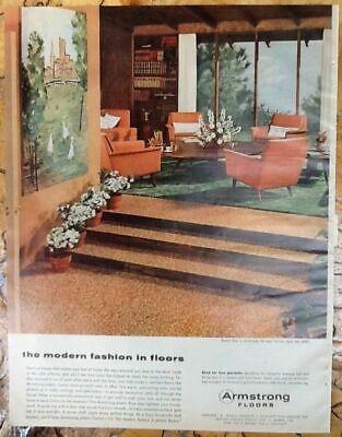 Armstrong Floors Retro Home Decor Ad 1955 Original Vintage 1950s Print Art Ebay