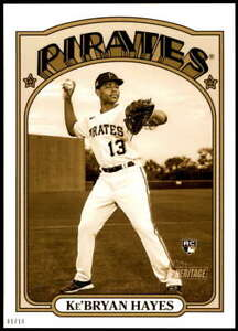 Ke'Bryan Hayes 2021 Topps Heritage 5x7 Variations Gold #97A /10 Pirates Action