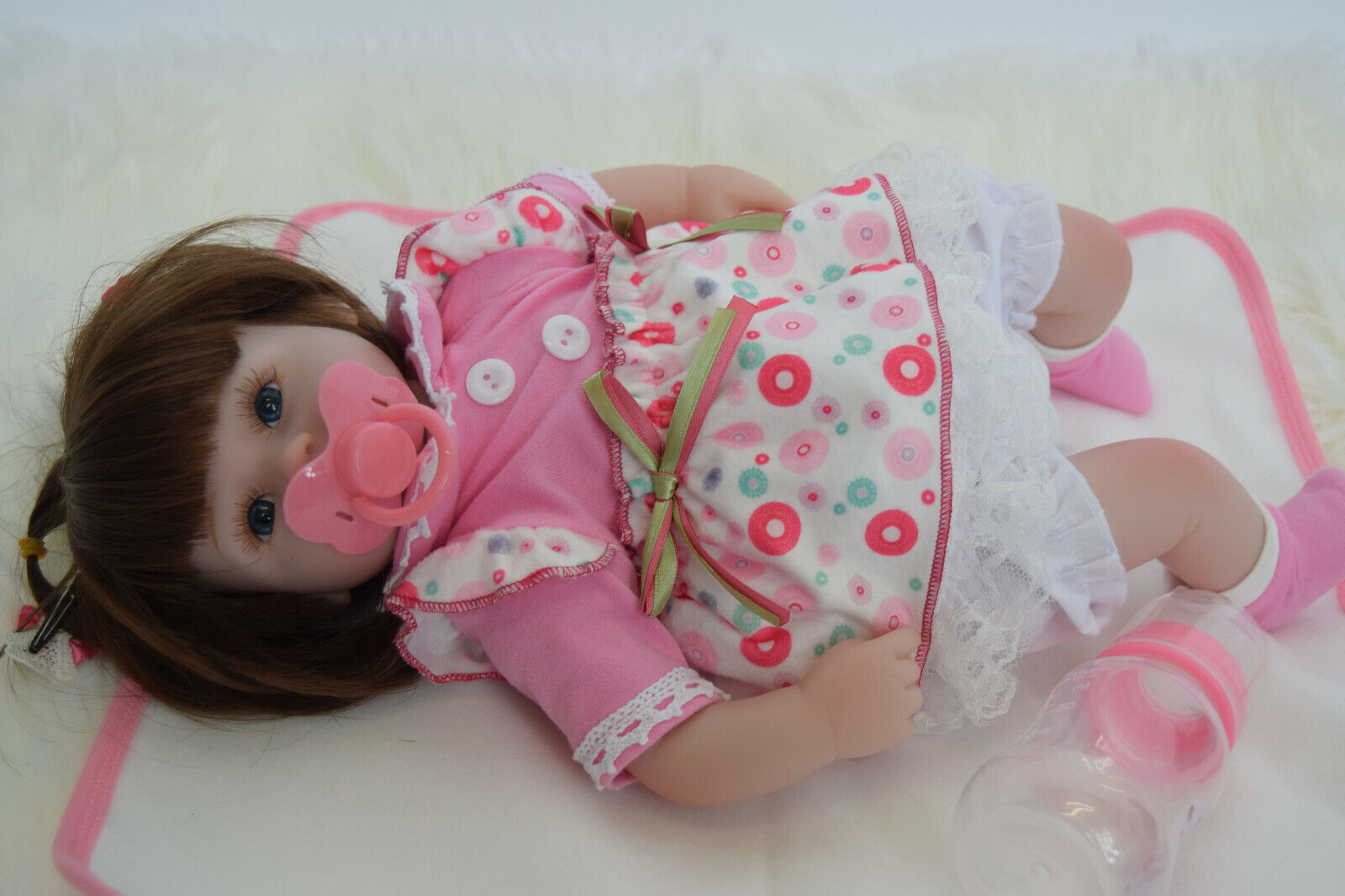 """16"""" Reborn Soft Vinyl Baby Doll Clothing & Accessories Silicone Doll Pink Outfit"""