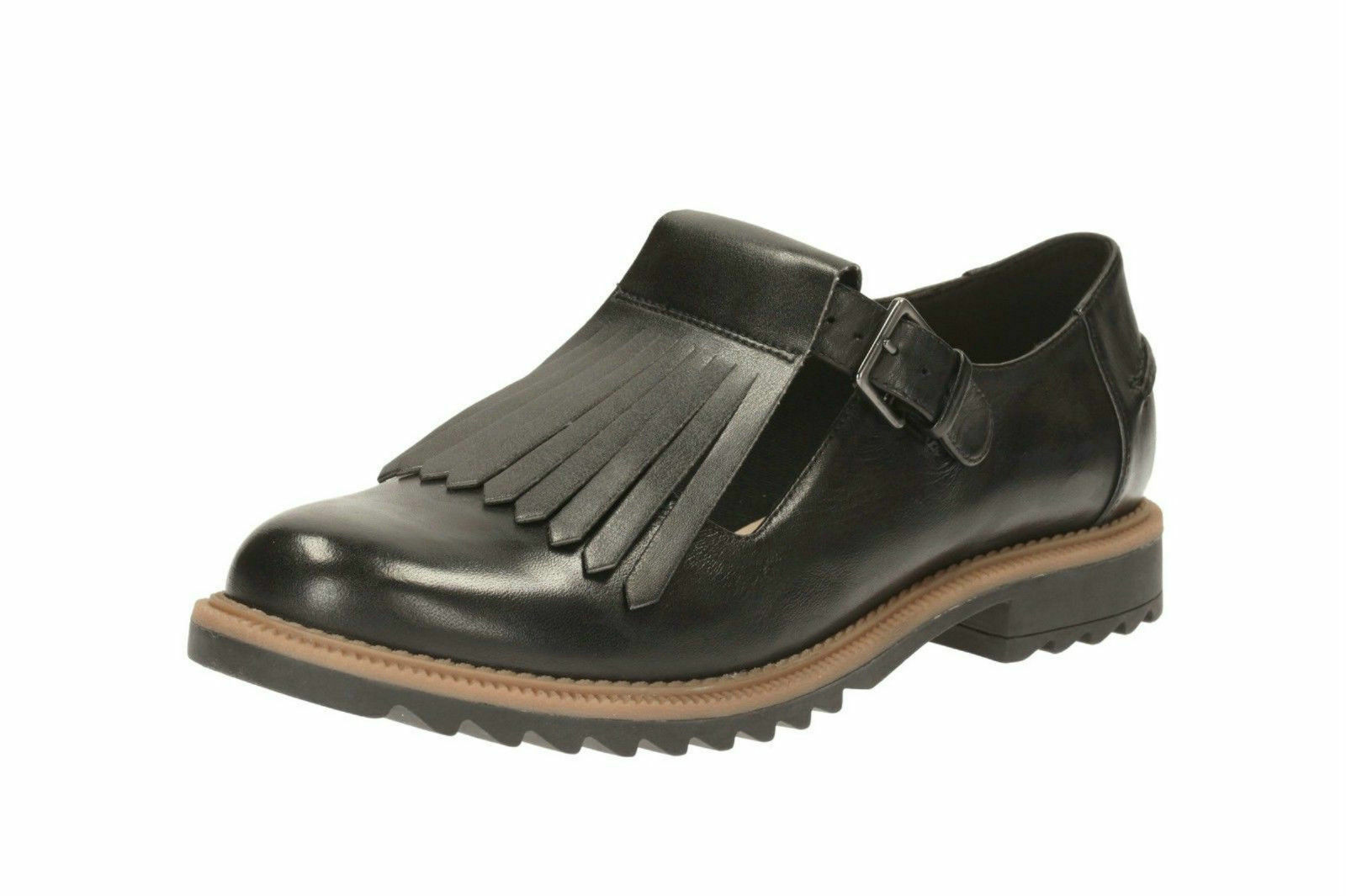 Clarks' Greifen Mia' Damen Schwarz Leder Schnalle 3cm Blockabsatz Schuhe D Für