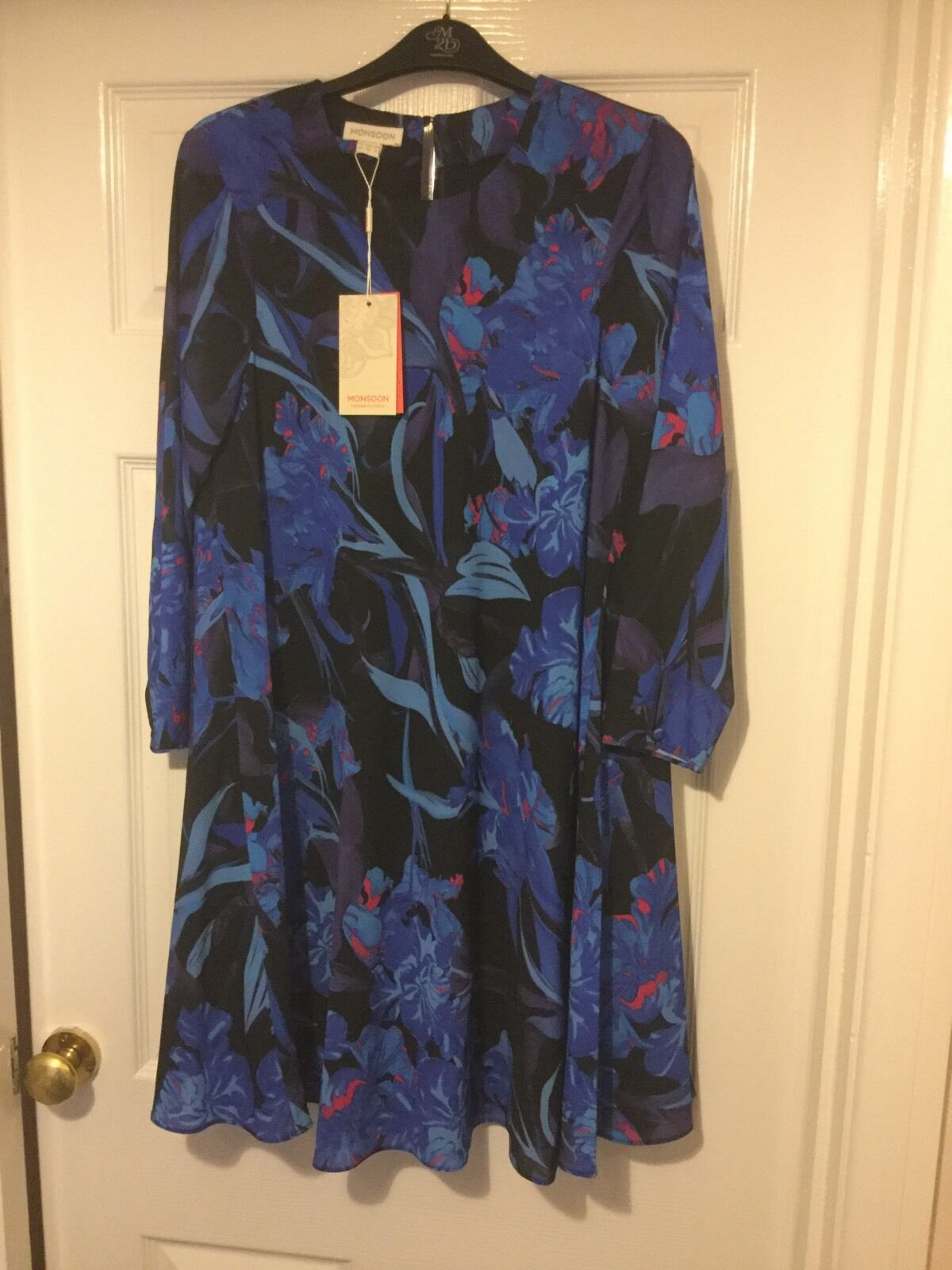 MONSOON IONA COBALT DRESS SIZE 10 BNWT