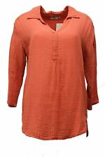 HOT COTTON WOMEN CLOTHING GAUZE SHIRTTAIL L/S TOP BLOUSE CORAL PINK LARGE 14- 16