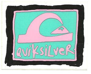NEW mint QUIKSILVER vintage PINK/GRN retro LOGO sticker ...