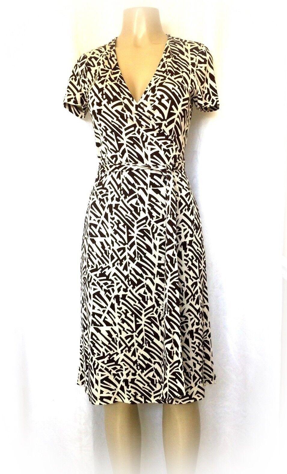DVF Diane Von Furstenberg Furstenberg Furstenberg Jenny True WRAP DRESS Cream Brown Silk Short sleeve 6 c407ed