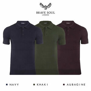 Brave-Soul-Columbus-Mens-Knitted-Short-Sleeve-Polo-Shirt-RRP-30