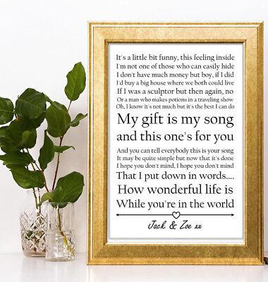 An A4 Print of Lyrics from Elton JohnsYour Song