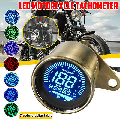Bronze Universal Motorcycle Digital Gauge Speedometer Tachometer Odometer Oil Level Meter LCD Display Instrument Cluster 12V