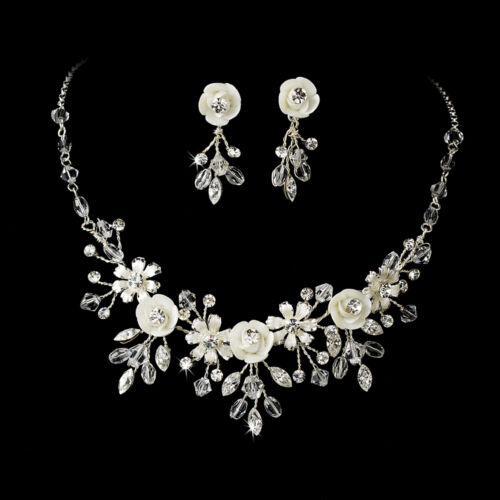 Silver or Gold Porcelain Flower Pearl Crystal Bridal Jewelry Set