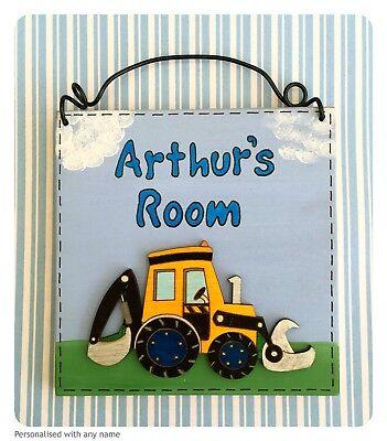 Children's Door Sign ~ PERSONALISED With Name - Digger Plaque - Handmade Wooden