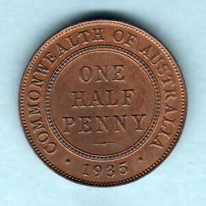 Australia-1935-Halfpenny-Near-Full-subdued-Lustre-UNC