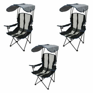 Details about Kelsyus Premium Portable Camping Folding Lawn Chair with  Canopy (3 Pack)