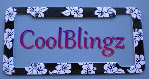 Black With White Hibiscus Flowers Plastic License Plate Frame Ebay