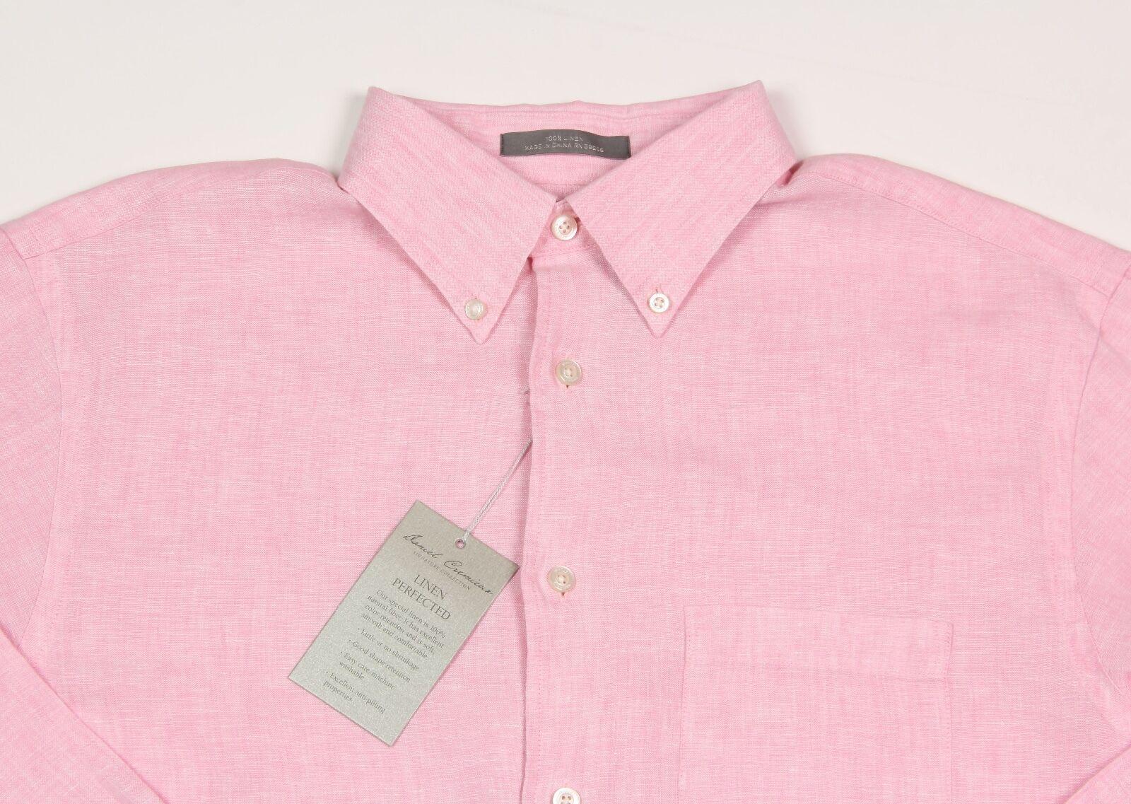 Men's DANIEL CREMIEUX Pink Linen Shirt L Large NWT NEW +