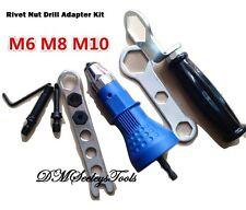Riv Nut Drill Adapter Threaded Rivet Insert Tool Metric sizes M-6,8,10, FREE S.H