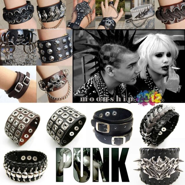 Jewelry Punk Rock Gothic Leather Rivet Spike Studded Bracelets Bangle Wristband