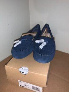 NIB-UGG-women-039-s-Lizzy-navy-blue-SHEEPSKIN-MOCCASIN-SLIPPERS-women-039-s-size-5