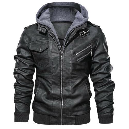 Men/'s Winter Warm Hoodie Zipper Outwear Solid Detachable Imitation Coat Jacket