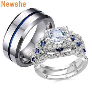 Newshe Women S Sterling Silver Wedding Rings Set Men S Tungsten Bands Couple Set Ebay