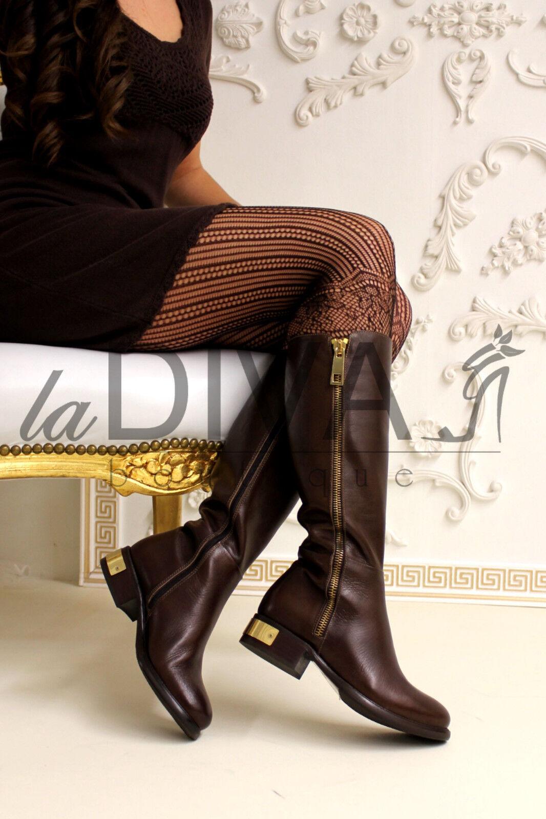 Napoleoni ~ Italy cuero de diseño bota botas 39 moca marrón decorativas Zipper oro