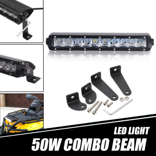 "10//11/"" 50W LED Work Light Bar Combo For Polaris General 1000 Front Lower Bumper"