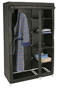 Kleiderschrank Kleider-Schrank Kleiderstange Wardrobe m. 5 Ablagefächern schwarz