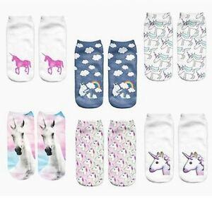 9 Women/'s 3D Unicorn Design Print Socks Unisex Ankle Cotton Socks Free UK Post