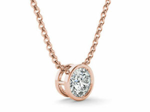 2Ct-Round-Solitaire-Pendant-Necklace-Bezel-Set-W-Chain-Solid-14K-Rose-Gold-Over