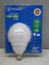 (10) Westinghouse 15CFL/G/E/27 Fluorescent 15W CFL Globe Lamp Light Bulb 2700K
