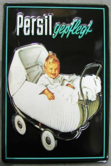 PERSIL  BABY im KINDERWAGEN, BLECHSCHILD