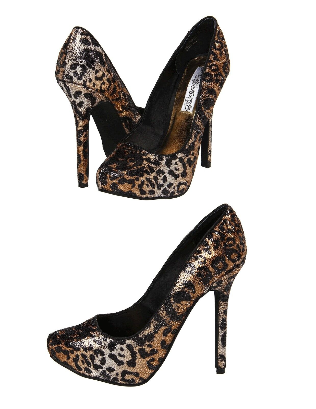 NAUGHTY MONKEY Pumps Leopard Sequins Glitter Stilettos Platform Pumps MONKEY High Heels Shoes f0ec3c