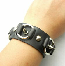 TEW147 Metal Spikes & Rings Black Leather Cuff Bracelet Wristband Gothic Punk