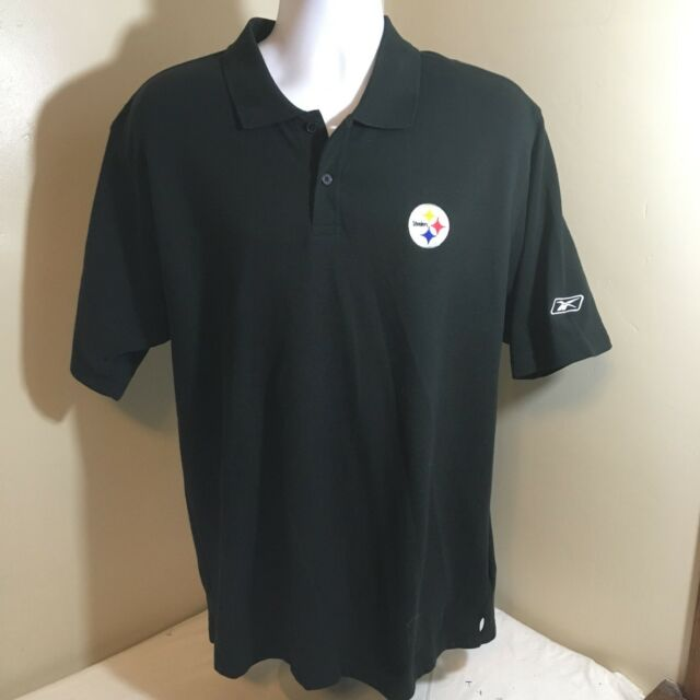 Nfl Team Apparel Pittsburgh Steelers Black Polo Shirt Mens Large Excellent Football-nfl Shirts