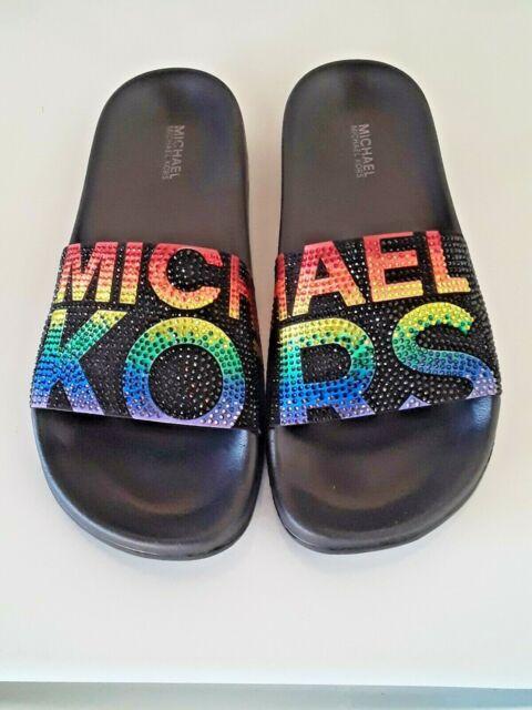 Michael Kors Gilmore Rainbow Black Micro-Suede Crystal Slides Women's Size 6 MK