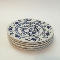 "J&G MEAKIN CLASSIC Blue Nordic Onion Salad Dessert Plates England 7"" Lot of 6"