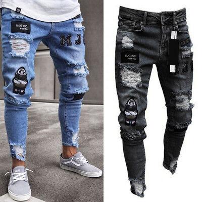 Vaqueros De Hombre Vaqueros Slim Fit Destruir Pantalones Pantalones Rotos Ebay