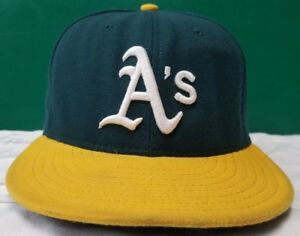 designer mode gedetailleerde foto's veel stijlen Details about Oakland Athletics New Era fitted cap sz 7 1/4 green/yellow  made in USA MLB