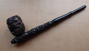 Extra-large-12-inch-ebony-pipe-african-carved-elephant-lion-good-condition