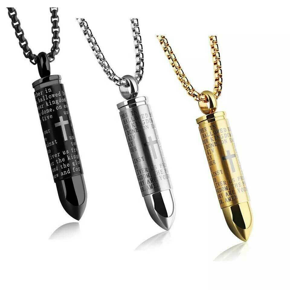 Image 61 - Cross-Pendant-Necklace-Lord-039-s-Prayer-BULLET-Chain-Stainless-Steel-English-Men