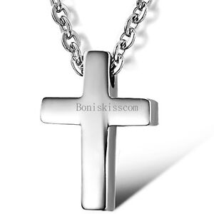 Silver-Stainless-Steel-Simple-Plain-Cross-Pendant-Necklace-Men-039-s-Women-039-s-Jewelry