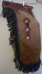 Brown Suede Leather Western Horse Saddle Fancy Chinks Chaps for Work or Rodeo