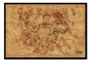 Framed The Legend Of Zelda Breath Of The Wild Hyrule Map Poster New Ebay