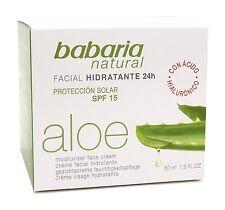 Babaria Natural Aloe Vera 24hr Rostro Crema Hidratante con SPF 15, 50 Ml.
