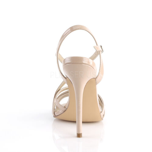 Amuse Patent Sandals cross Nude Shoes Criss Pleaser Heel Stiletto 13 RqwxRTCd