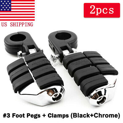 1/'/' to 1-1//4/'/' Black Motorcycle Highway Crash Bar Foot Pegs Pedal Mount Clamps