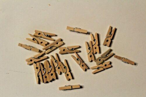 20 Pinces à linge bois petites Parenthèses bois nature 25 mm; 4,0 mm