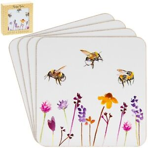 Set-of-4-Busy-Bees-Tableware-Tea-Coffee-Coasters-Bumble-Bee-Floral-Design