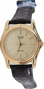 Casio-Men-039-s-Gold-Analog-Quartz-Watch-Brown-Leather-Band-MTP-1096Q-9A-New