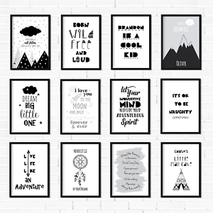Details About Monochrome Nursery Prints Black White Decor