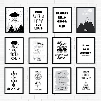 Monochrome Nursery Prints Black