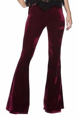 Burgundy Velvet Gypsy Vtg-y 70s Indie Glam Flared Bell Bottom 134 mv Pants S M L